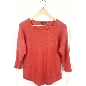 A.N.A Orange Waffle-knit Sweater w/ Shimmer Effect